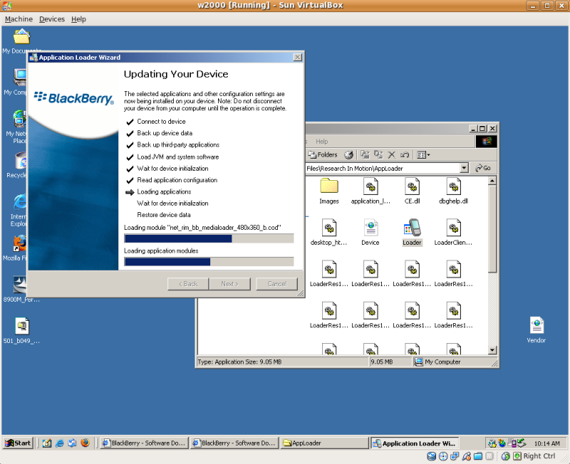 upgrading blackberry firmware with virtualbox